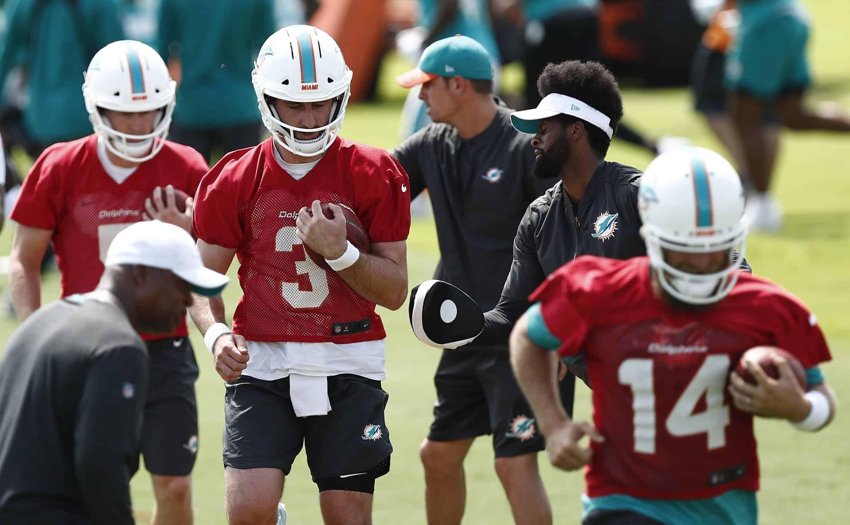 Miami Dolphins quarterbacks Josh Rosen Ryan Fitzpatrick