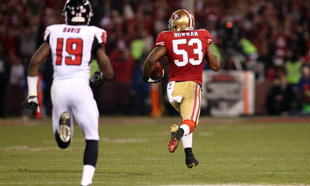 "San Francisco 49ers linebacker Navorro Bowman ""Pick at the Stick"""