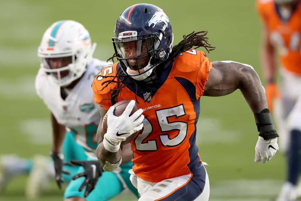 How will the quarterback situation affect the Broncos offense and Jerry Jeudy, Noah Fant, Tim Patrick, and Melvin Gordon in fantasy football?