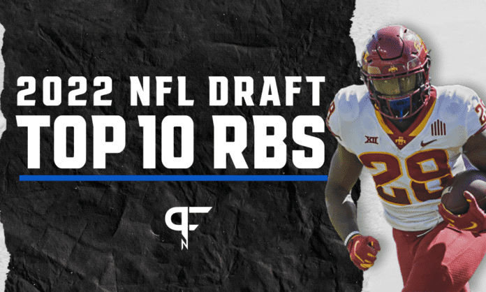Top running backs in the 2022 NFL Draft include Isaiah Spiller, Breece Hall