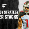 What is the stacking strategy in fantasy football?