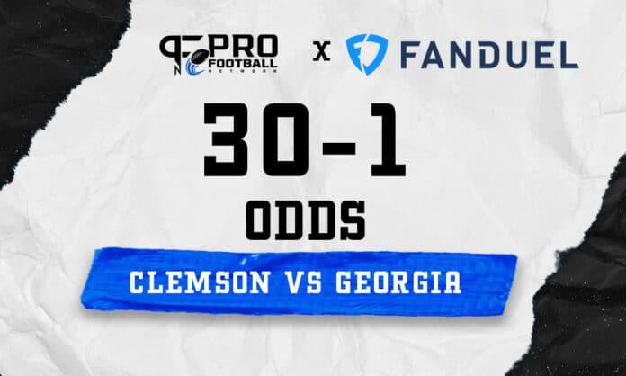 FanDuel Sportsbook is offering 30-1 odds on Clemson-Georgia