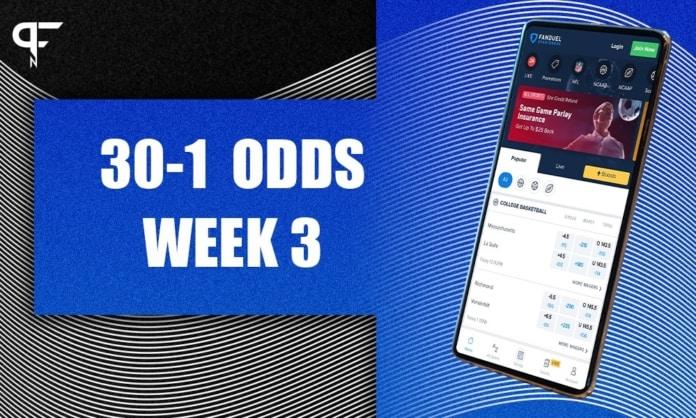 FanDuel Sportsbook offers 30-1 odds on three NFL Week 3 games