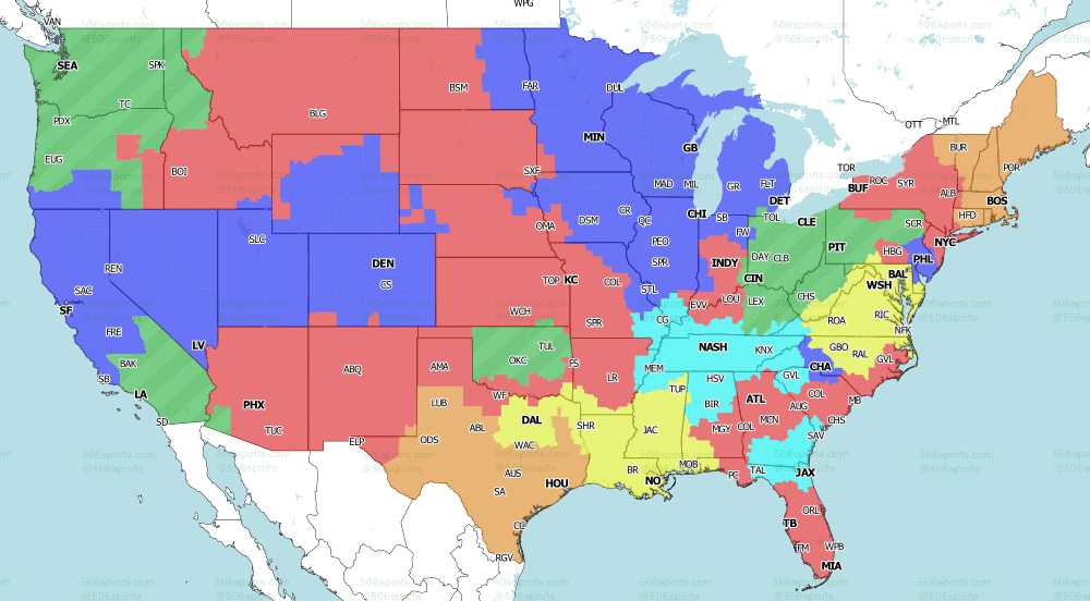 CBS single game NFL coverage map for Week 5