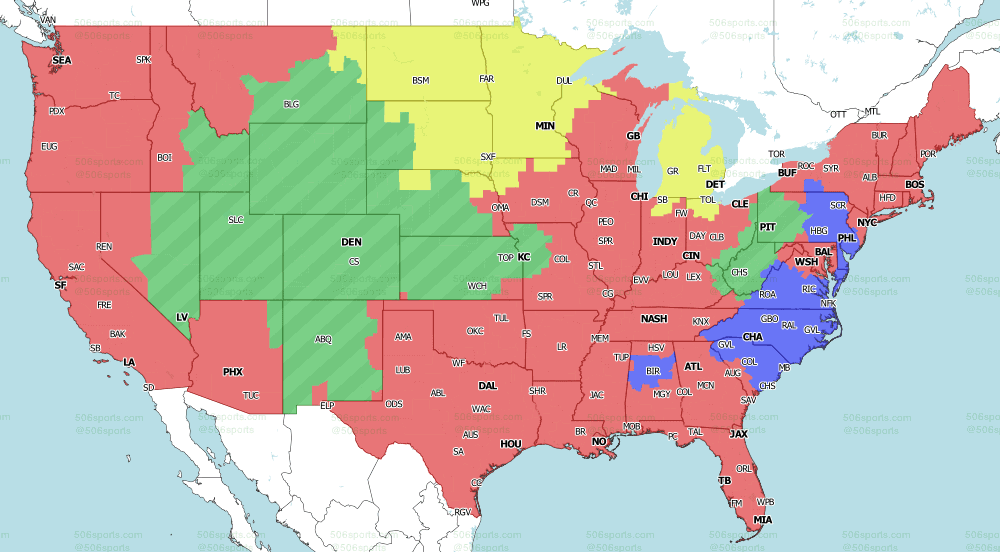 FOX early game NFL coverage map for Week 5