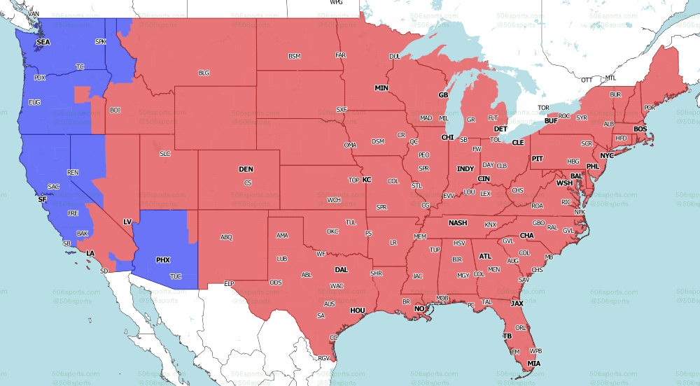 FOX late game NFL coverage map for Week 5